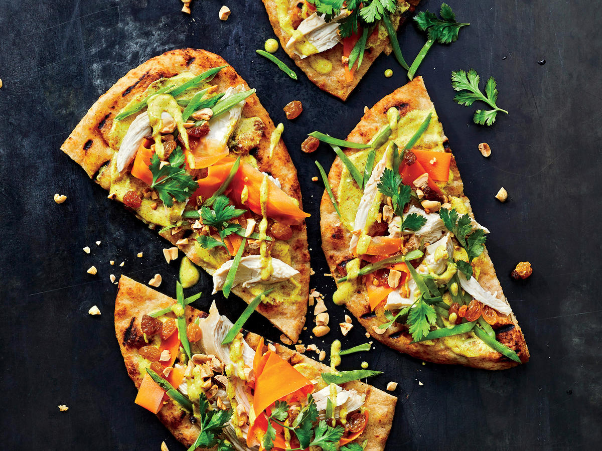 Grilled Chicken Curry Flatbreads