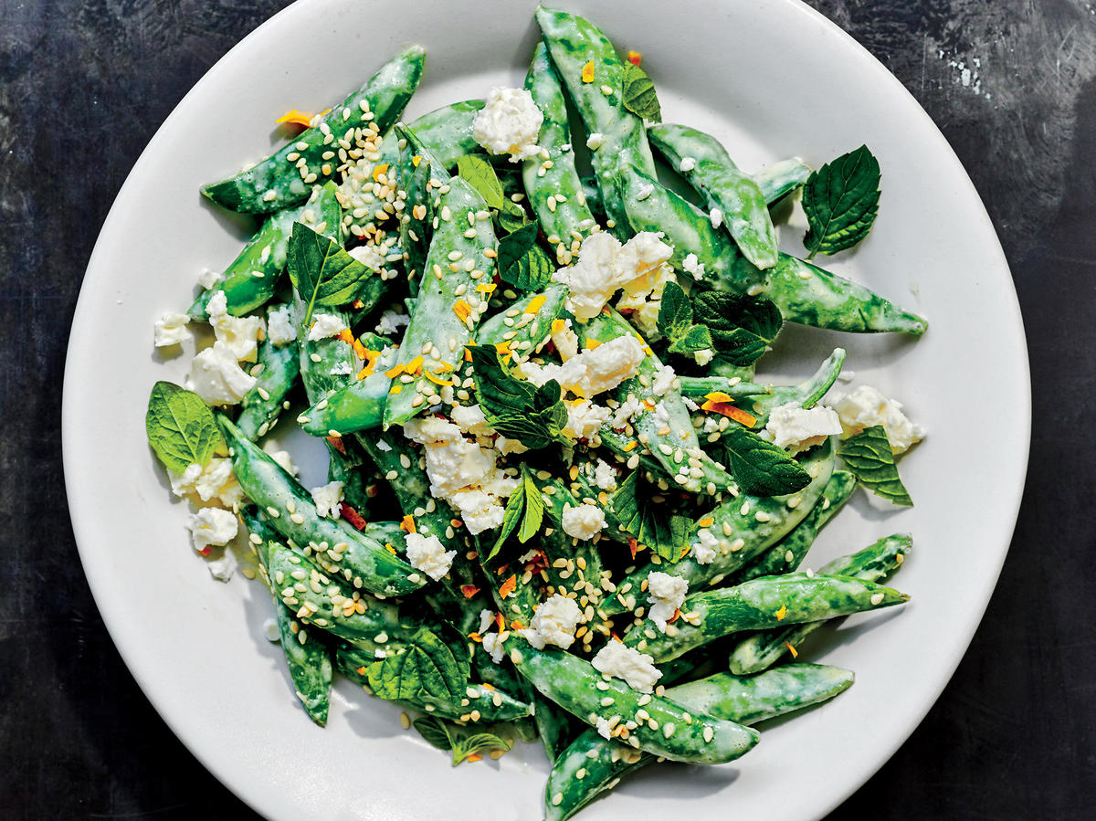 Snap Peas with Feta