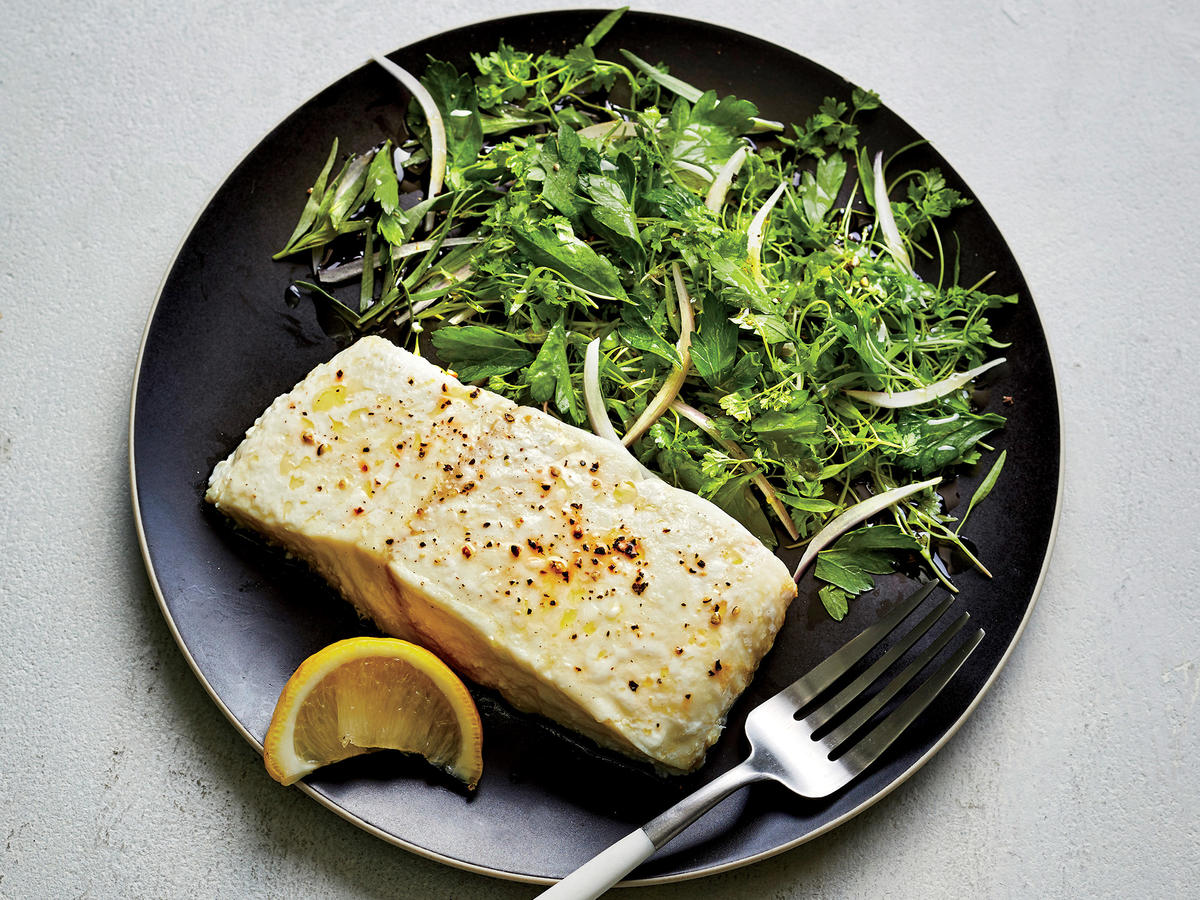 Roasted Halibut with Herb Salad