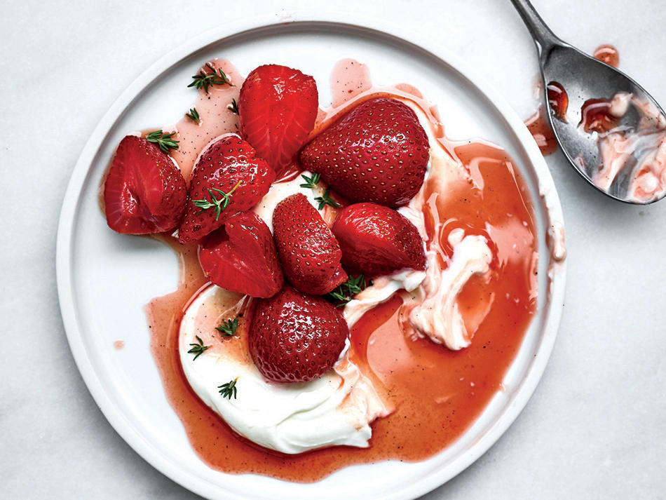 Rosé-Poached Berries