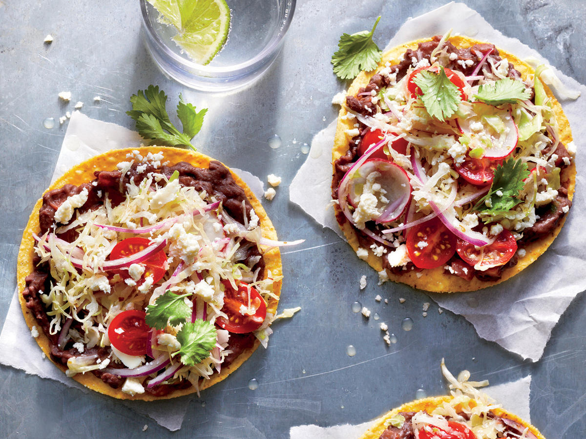 Black Bean Tostadas with Cabbage Slaw