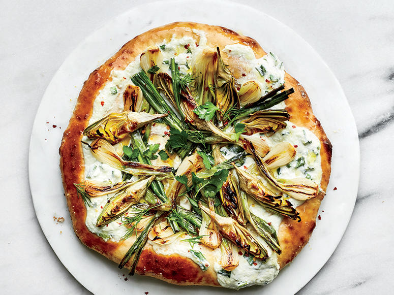 Charred Spring Onion and Baby Artichoke Pizza