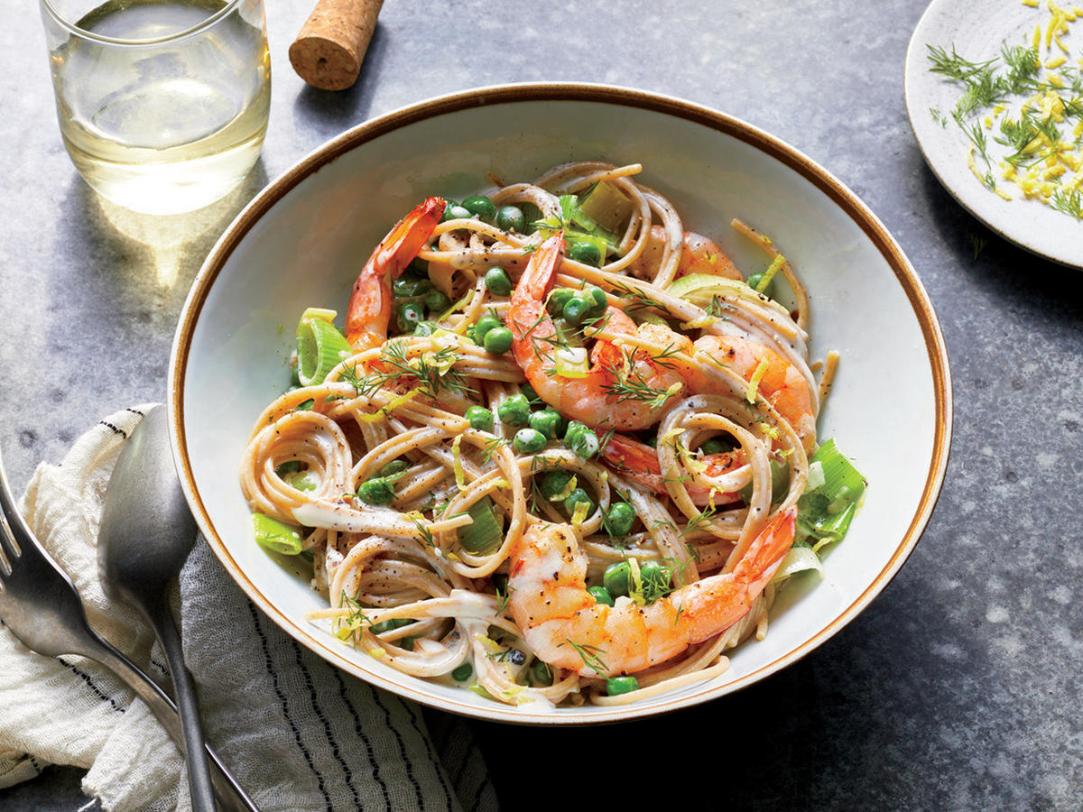 Shrimp and Leek Spaghetti