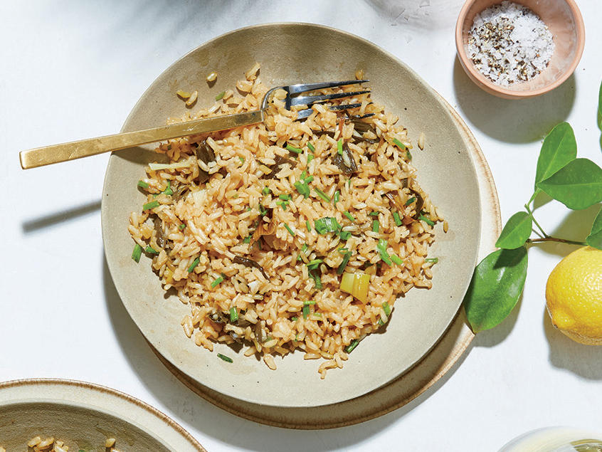 Rice Pilaf with Spring Onion Confit