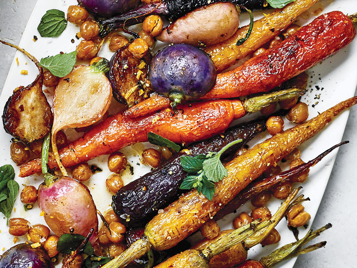 Roasted Carrots, Radishes, and Chickpeas