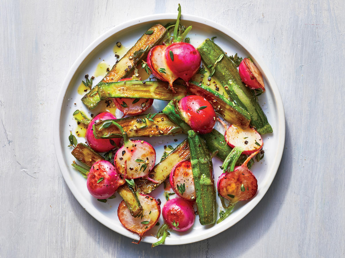 Broiled Zucchini and Radishes