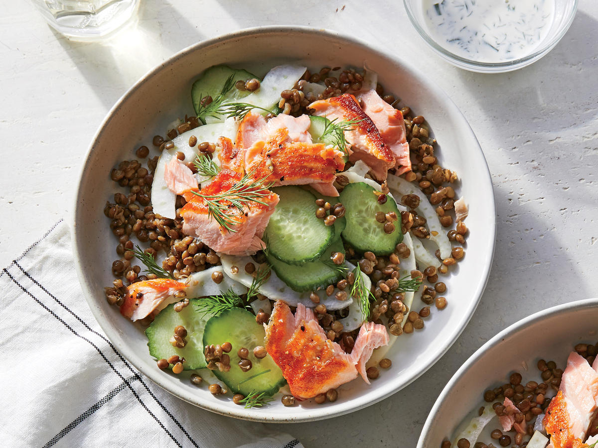 Tuesday: Salmon and Lentil Bowl with Kefir Dressing