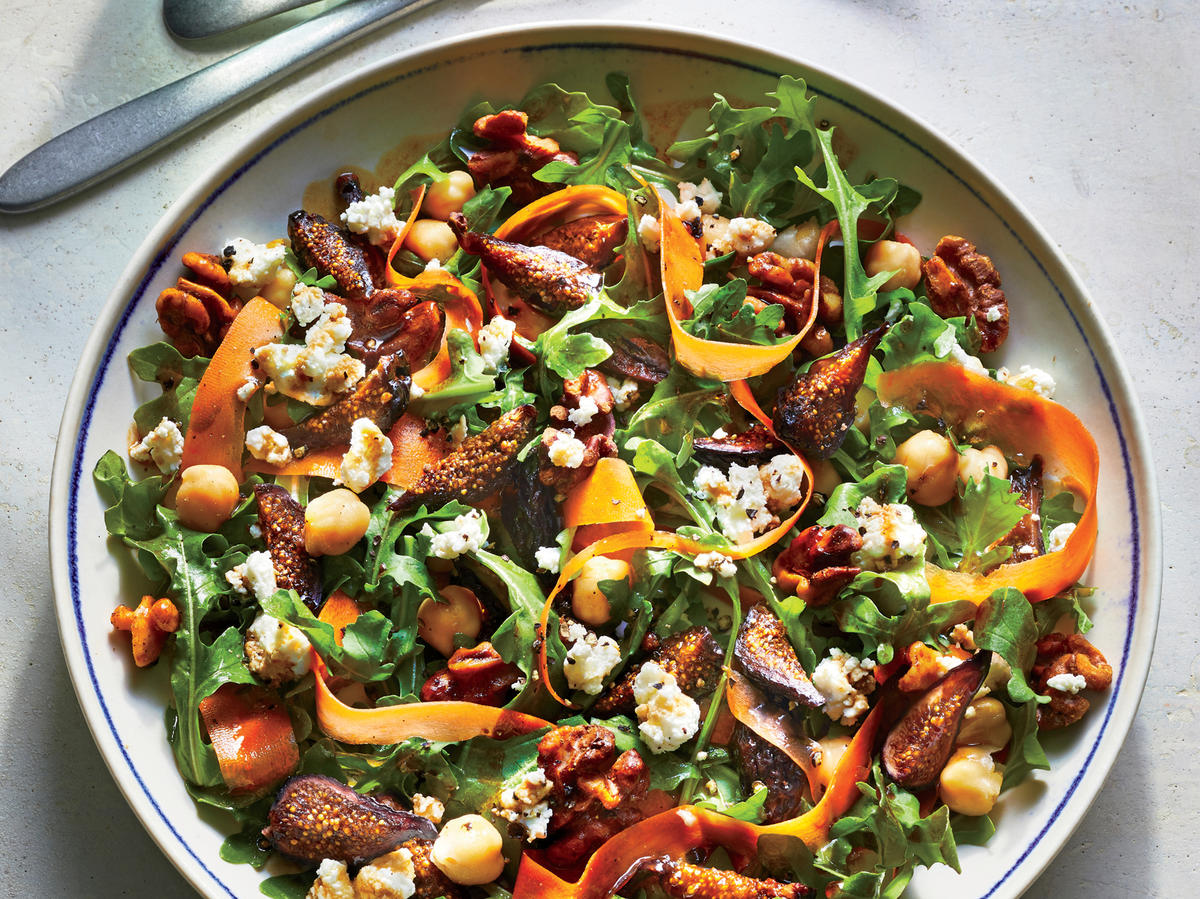 June: Fig and Arugula Salad with Walnuts and Goat Cheese