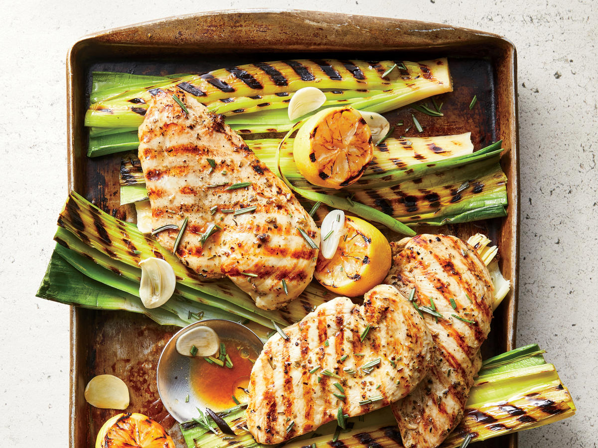Monday: Grilled Lemon-Rosemary Chicken and Leeks
