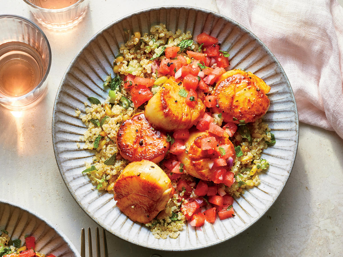 Spicy Scallops with Watermelon Salsa