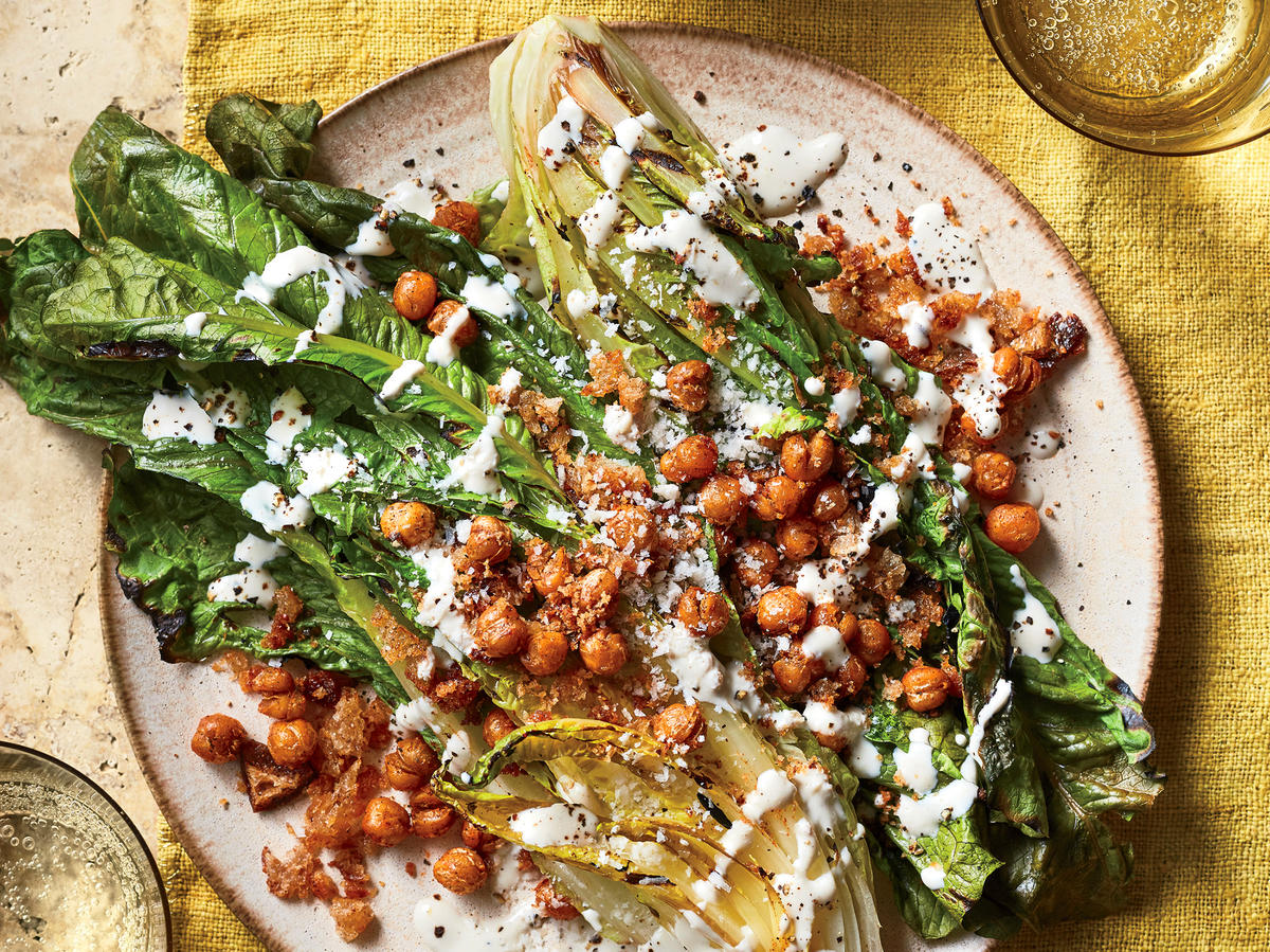 Grilled Caesar Salad with Sourdough Breadcrumbs