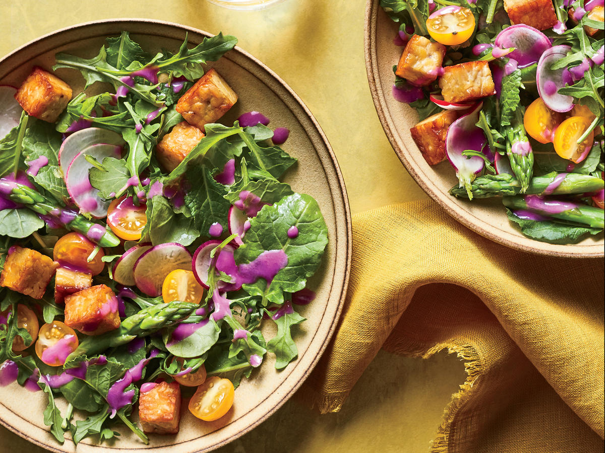 June: Early Summer Salad with Tempeh Croutons and Beet Dressing