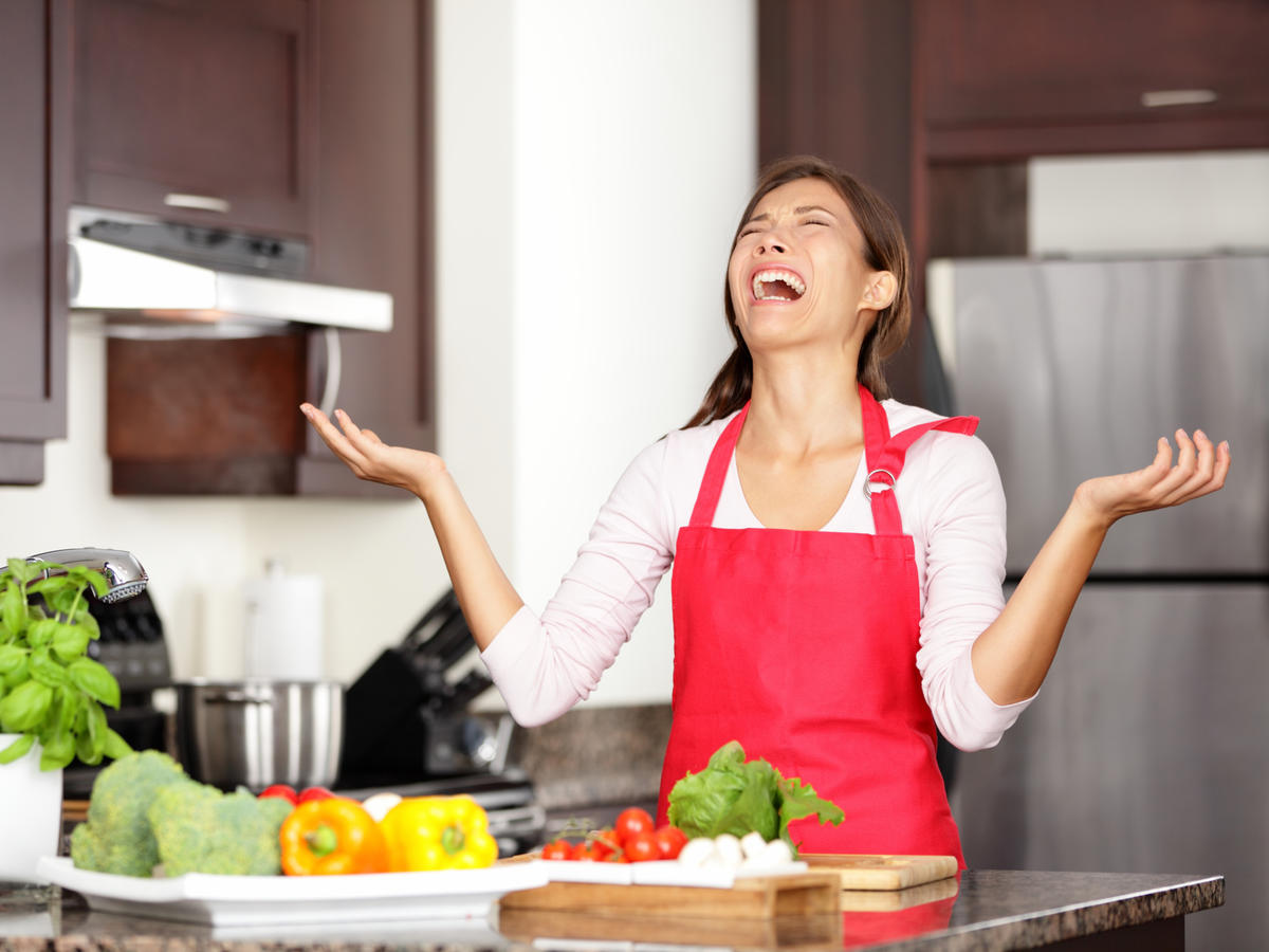 Frustrated Woman Cooking