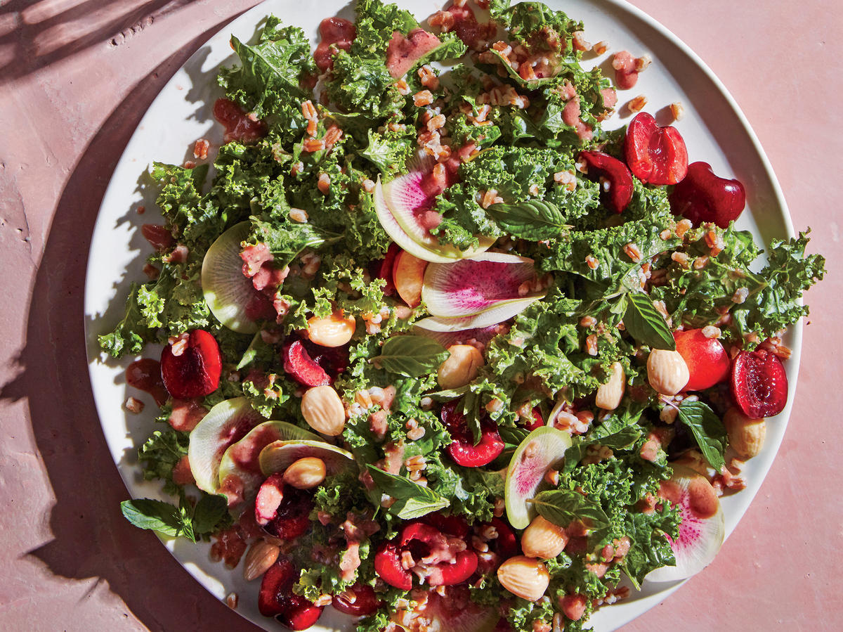 1807 - Kale and Wheat Berry Salad with Fresh Cherry Dressing
