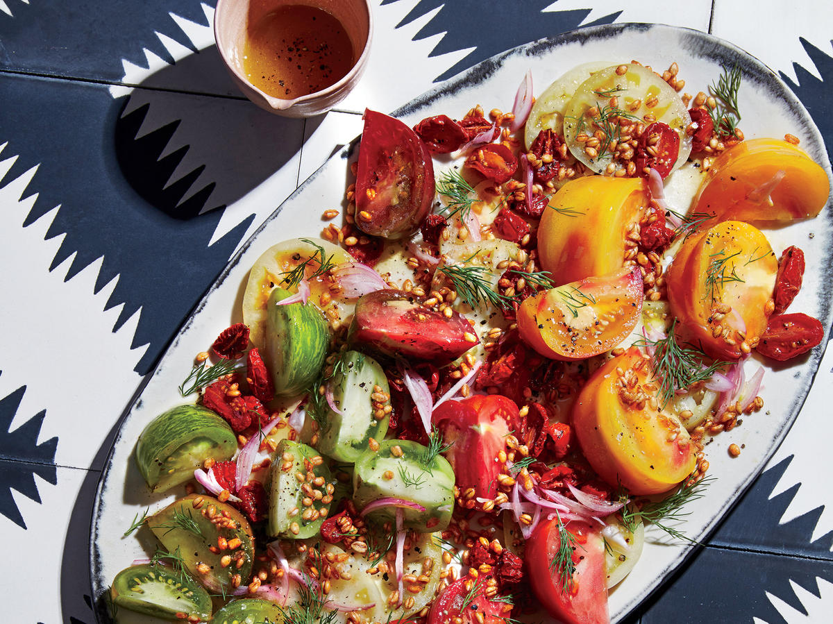 This Triple Tomato Salad With Crispy Farro Is Summer In a Dish