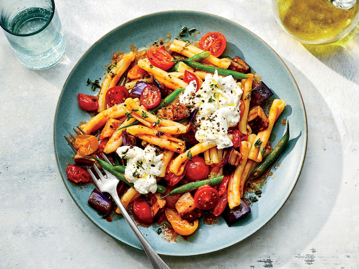 July: Warm Pasta Salad with Tomatoes and Eggplant