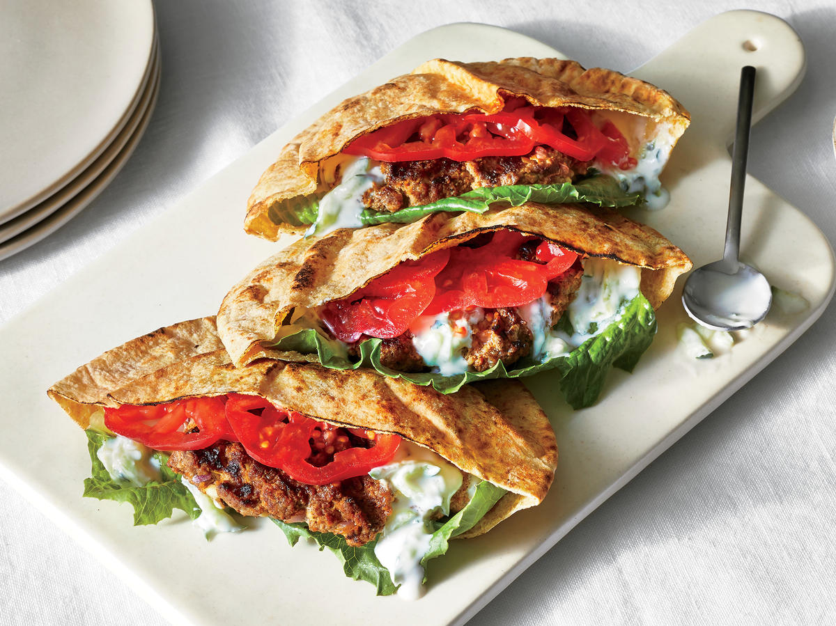 Wednesday: Grilled Lamb and Feta Pita Sandwiches