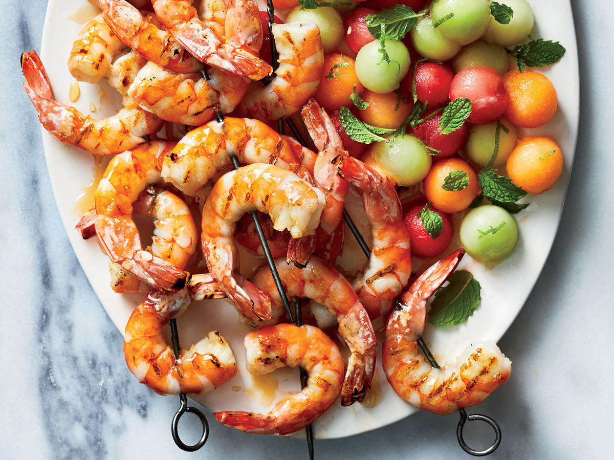 Shrimp Kebabs with Mint and Melon Salad