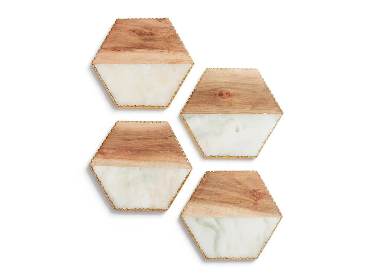 Set of 4 Wood & Marble Coasters