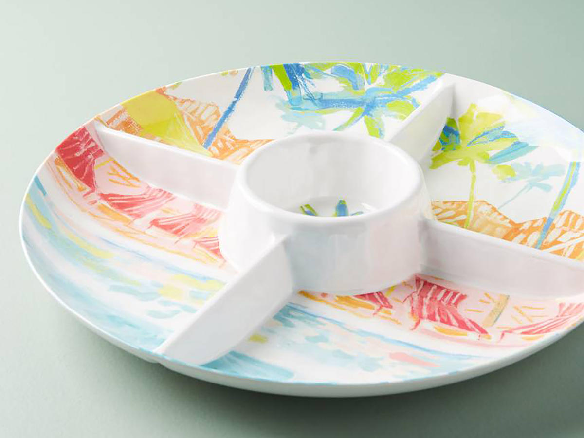 Anthropologie Watercolor Chip & Dip Party Platter