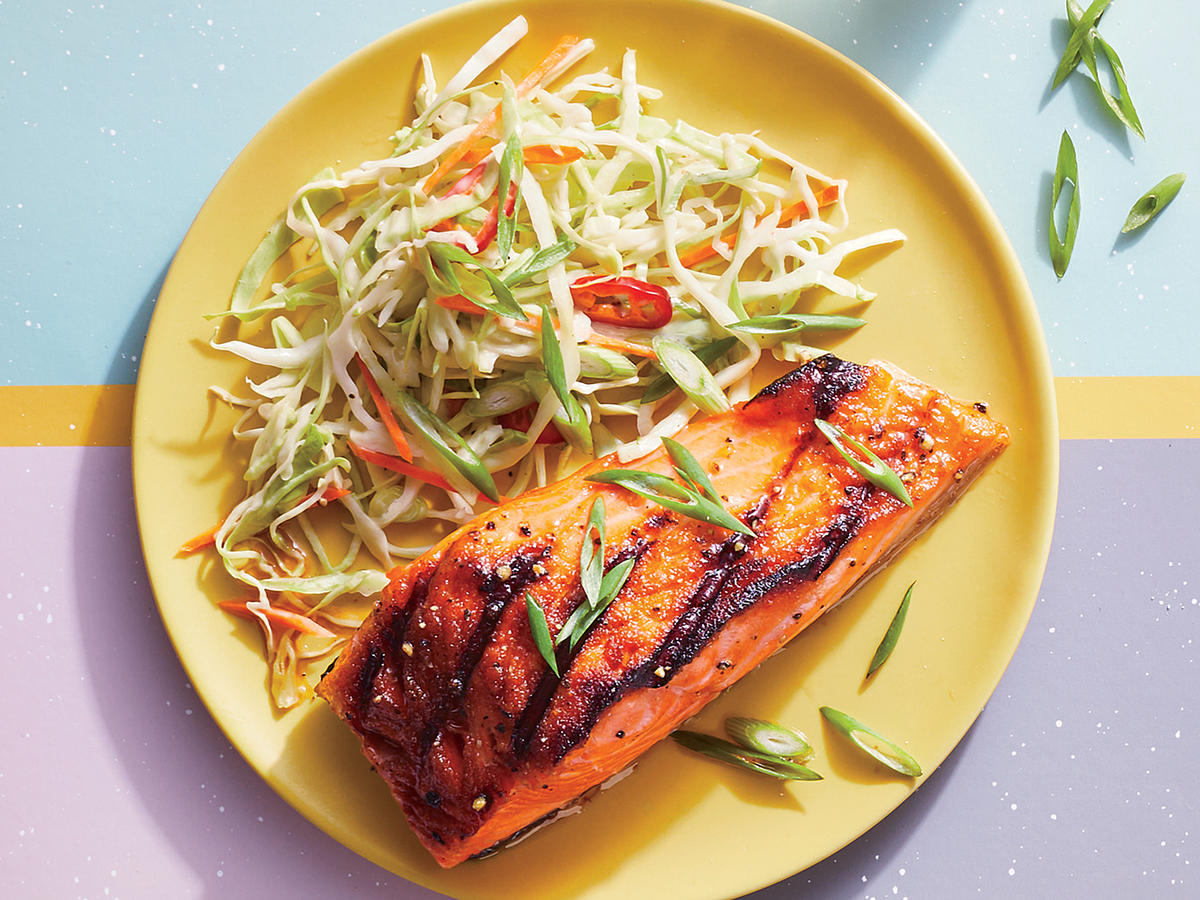 Barbecue-Style Bourbon-Glazed Salmon With Firecracker Slaw