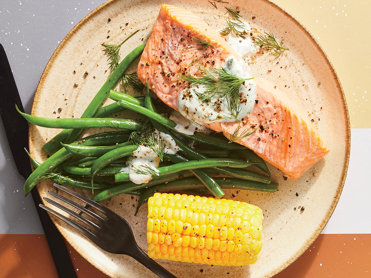 Simply Steamed Salmon and Corn With Dill Yogurt