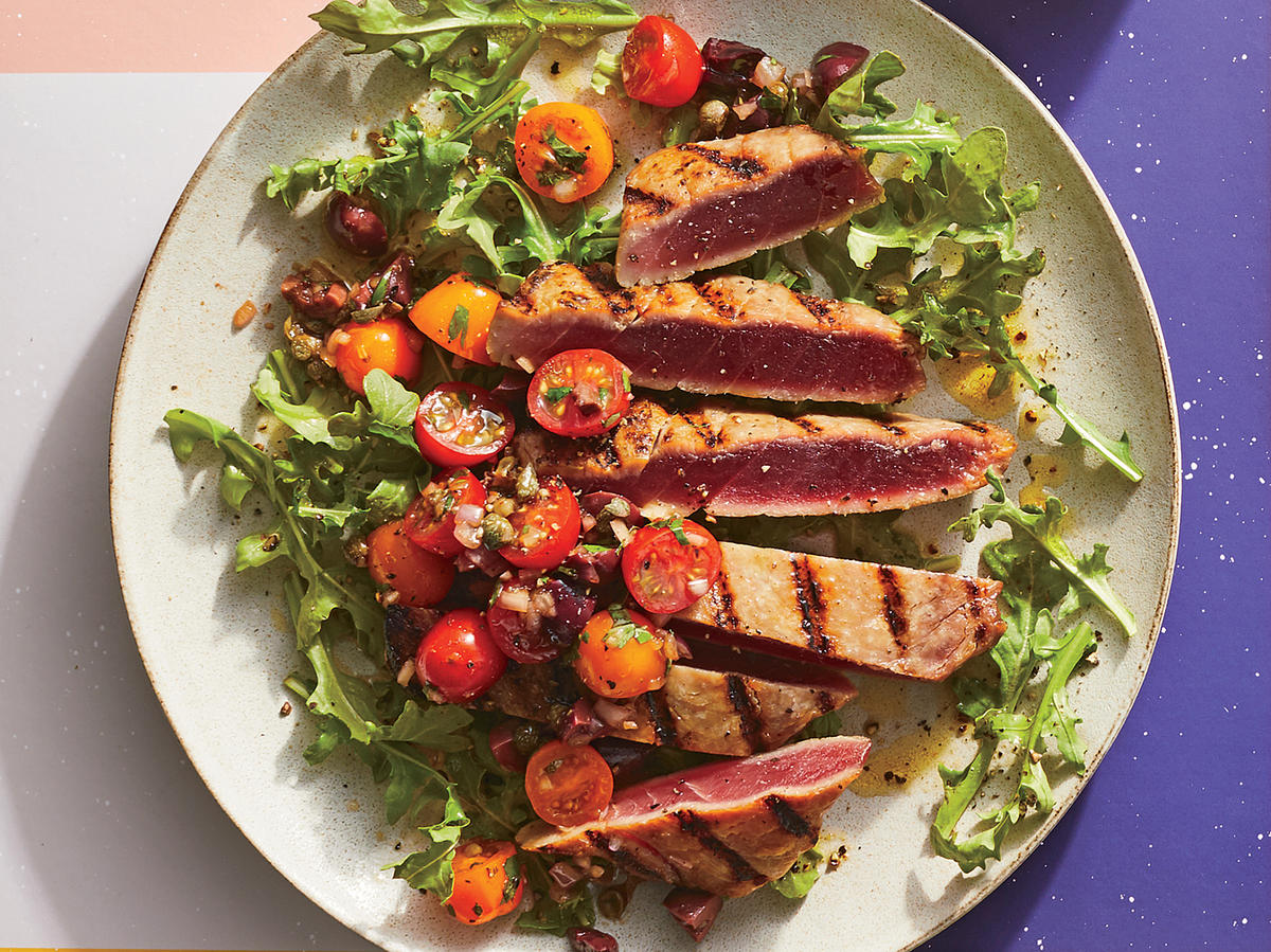 Grilled Tuna With Tapenade Salsa