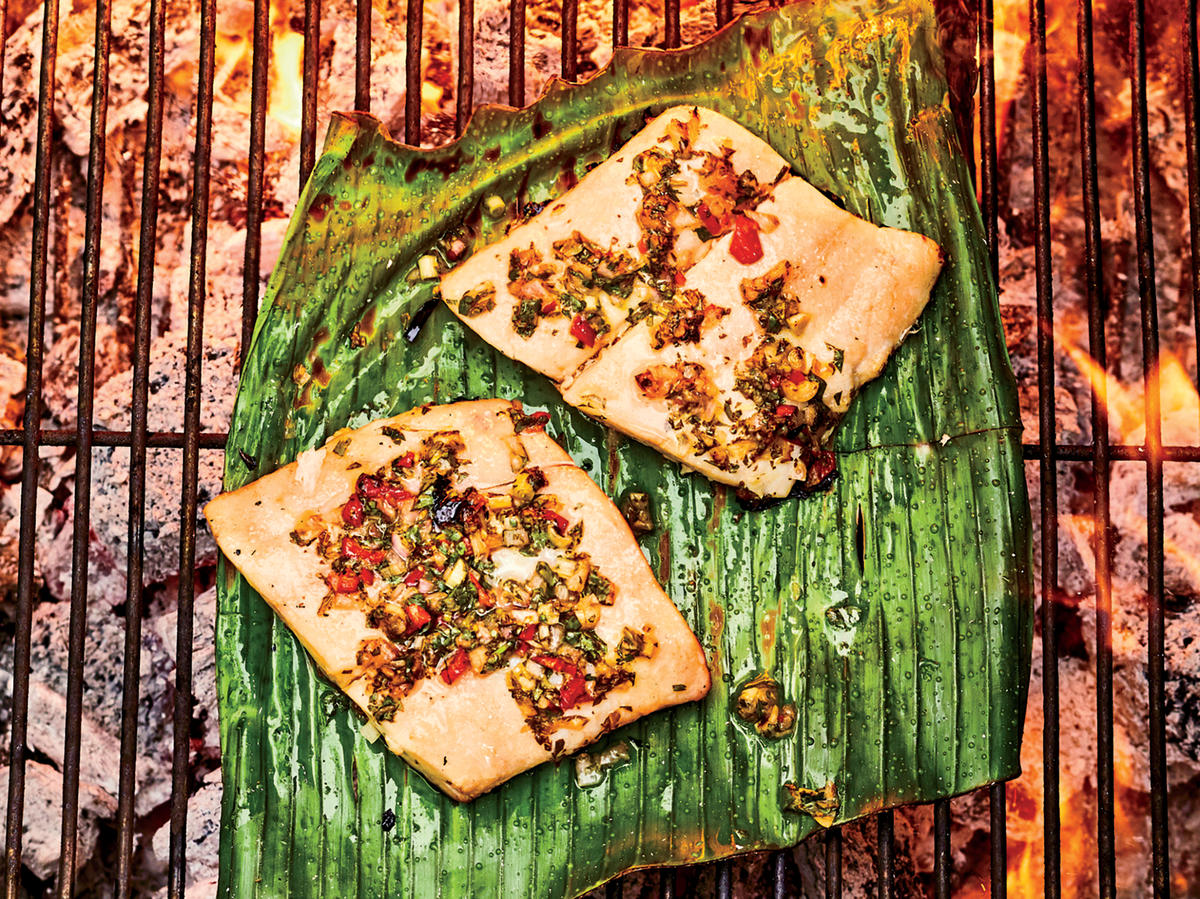 Wednesday: Flounder Grilled on Banana Leaves