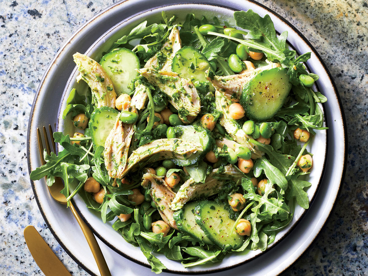 Chicken and Cucumber Salad With Parsley Pesto
