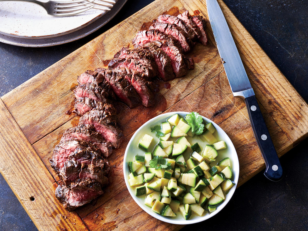 Grilled Hanger Steak With Zucchini Salsa
