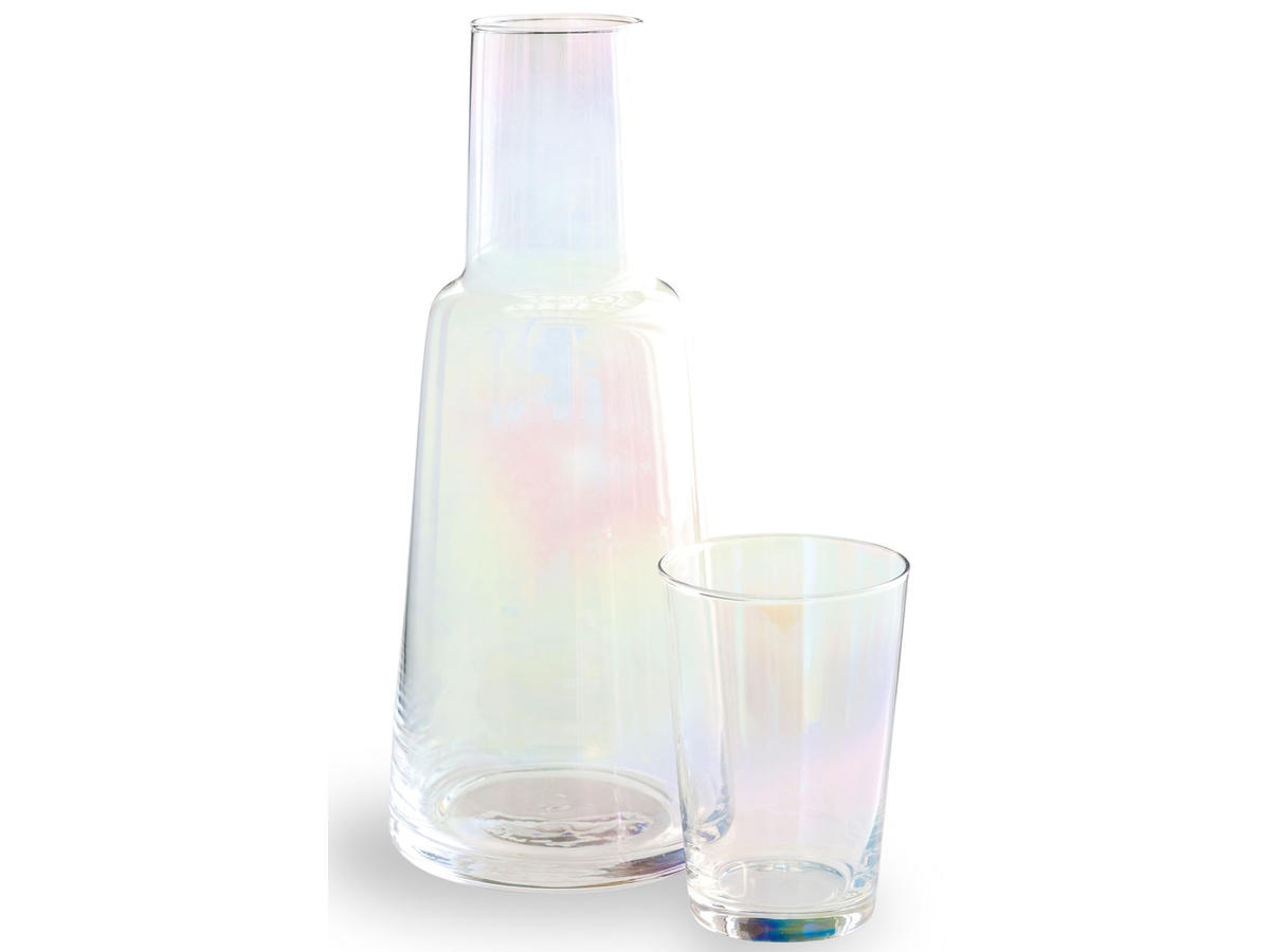iridescent glass carafe and cup