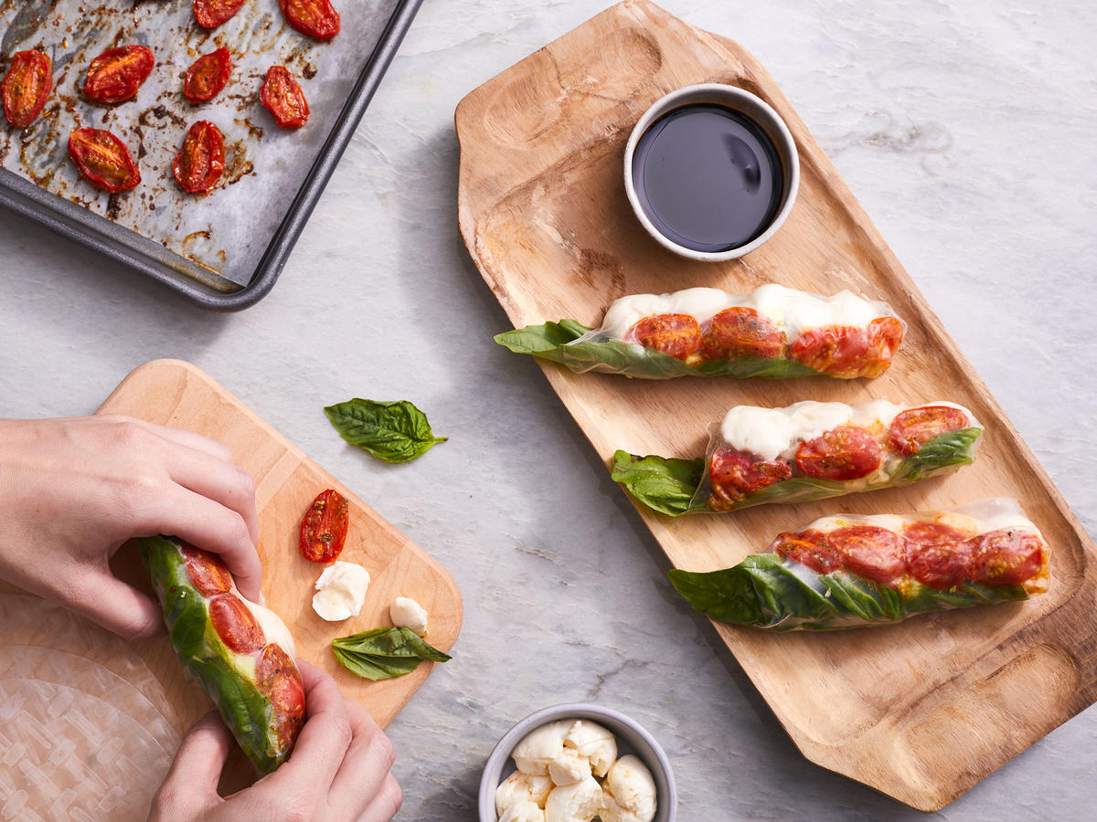 Roasted Tomato Caprese Summer Rolls