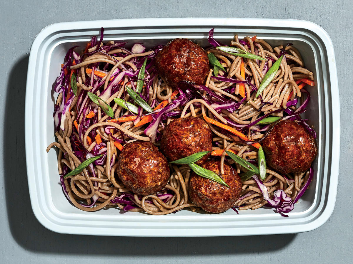 Glazed Meatballs with Soba Noodles
