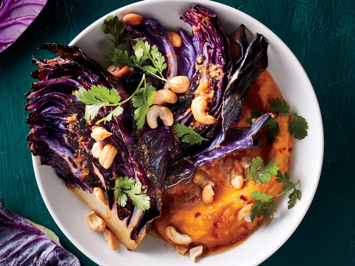 Charred Cabbage With Butternut-Miso Mash