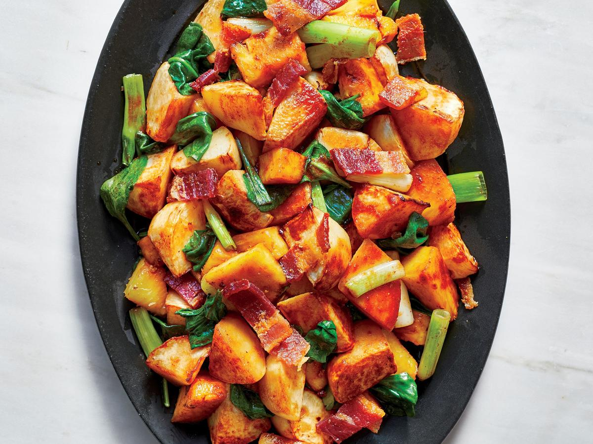 Stir-Fried Turnips With Bacon, Pineapple, and Greens