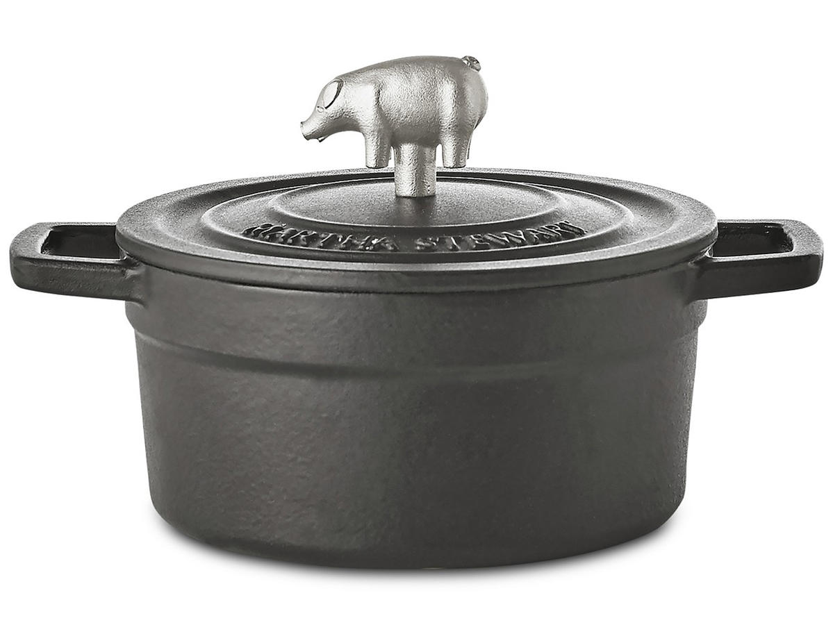 Martha Stewart cast iron dutch oven with pig finial