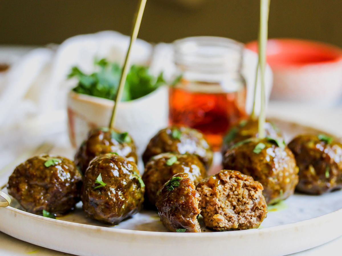 Curried Maple-Mustard Glazed Meatballs