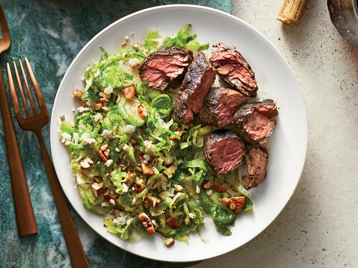 Coffee-Rubbed Steak with Brussels Sprouts Salad