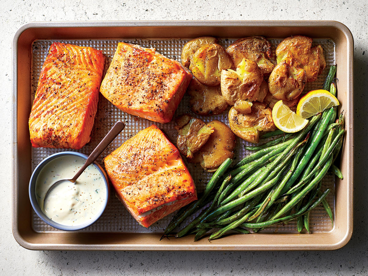 Salmon with Green Beans and Smashed Potatoes