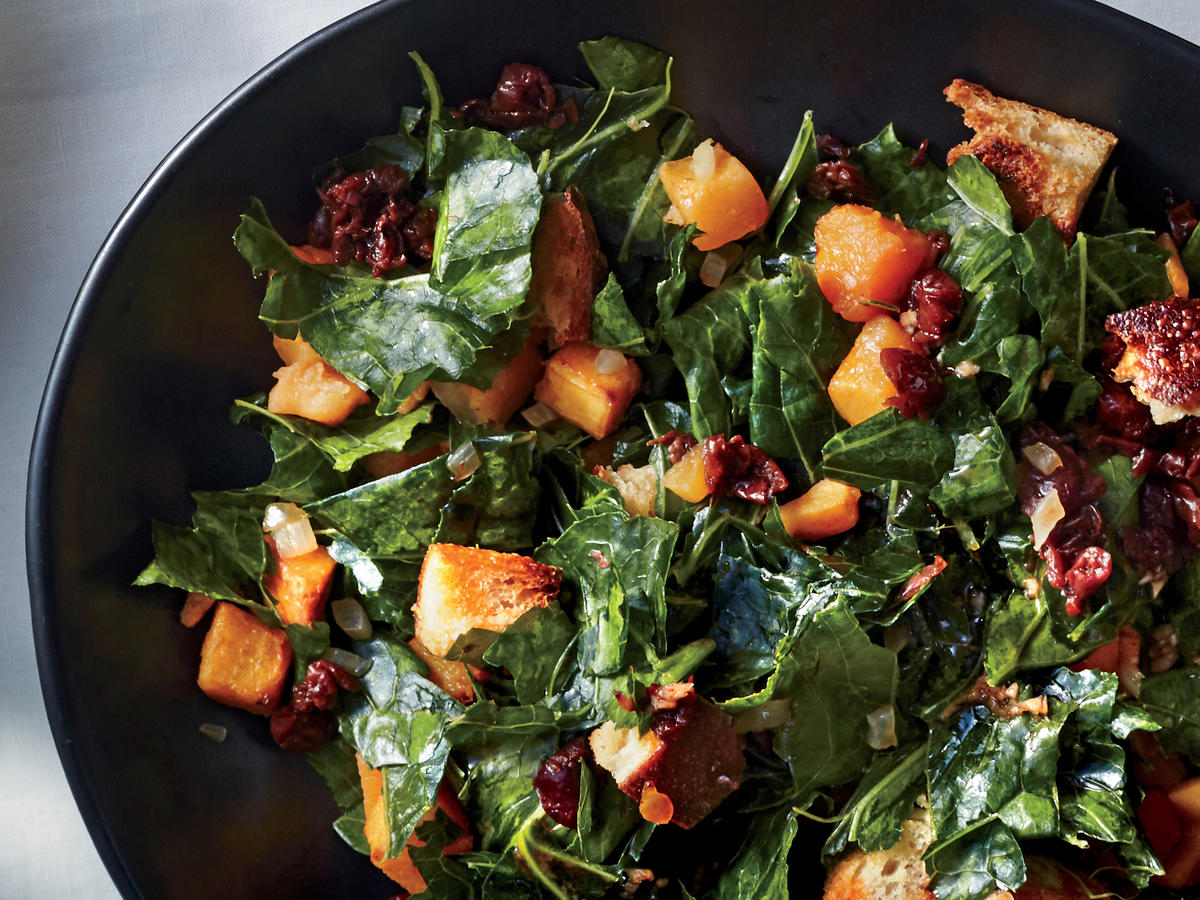 Collard Greens Panzanella Salad With Hot Sauce Vinaigrette
