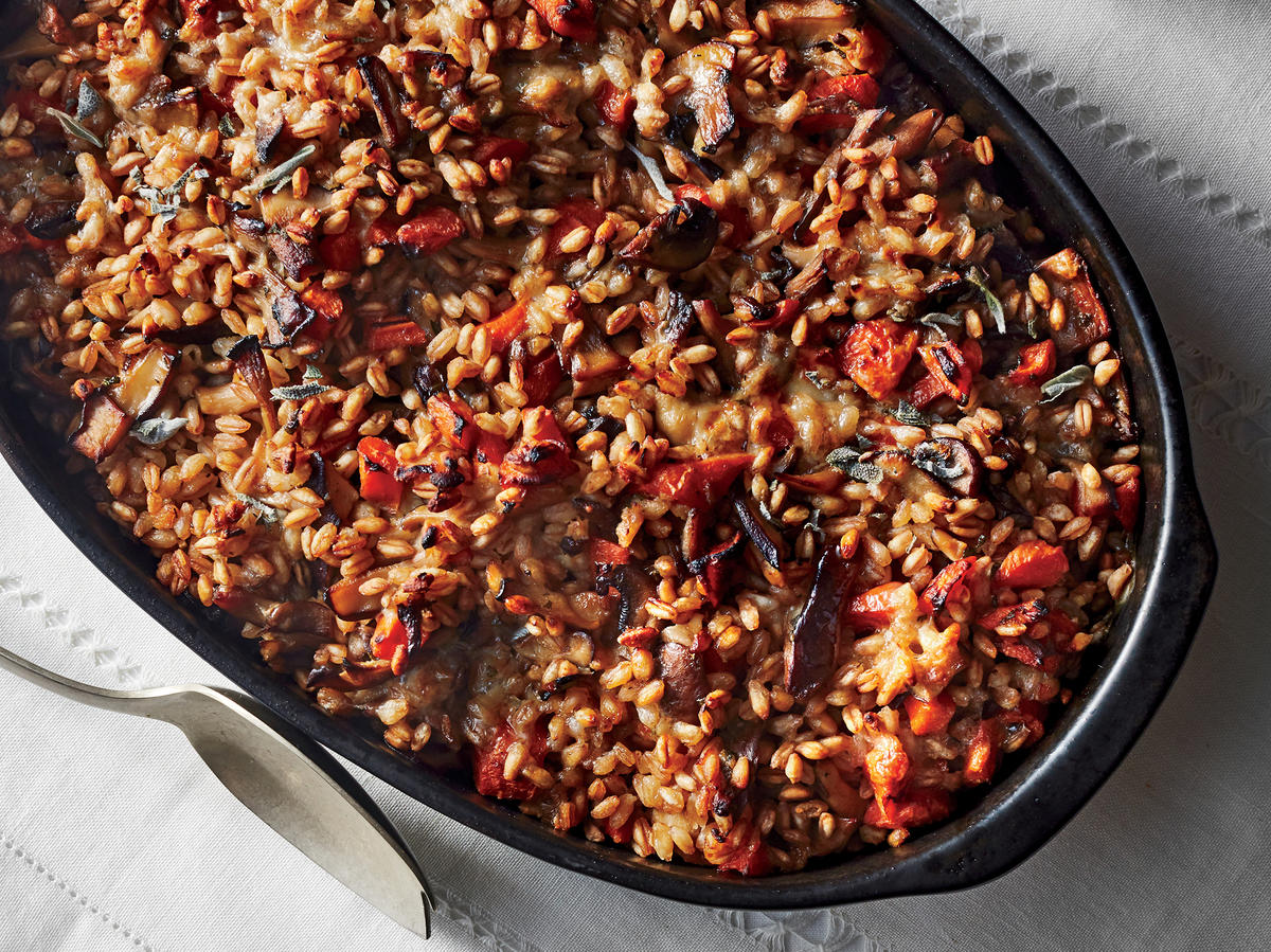 Whole Grain Farro Stuffing With Miso Mushrooms