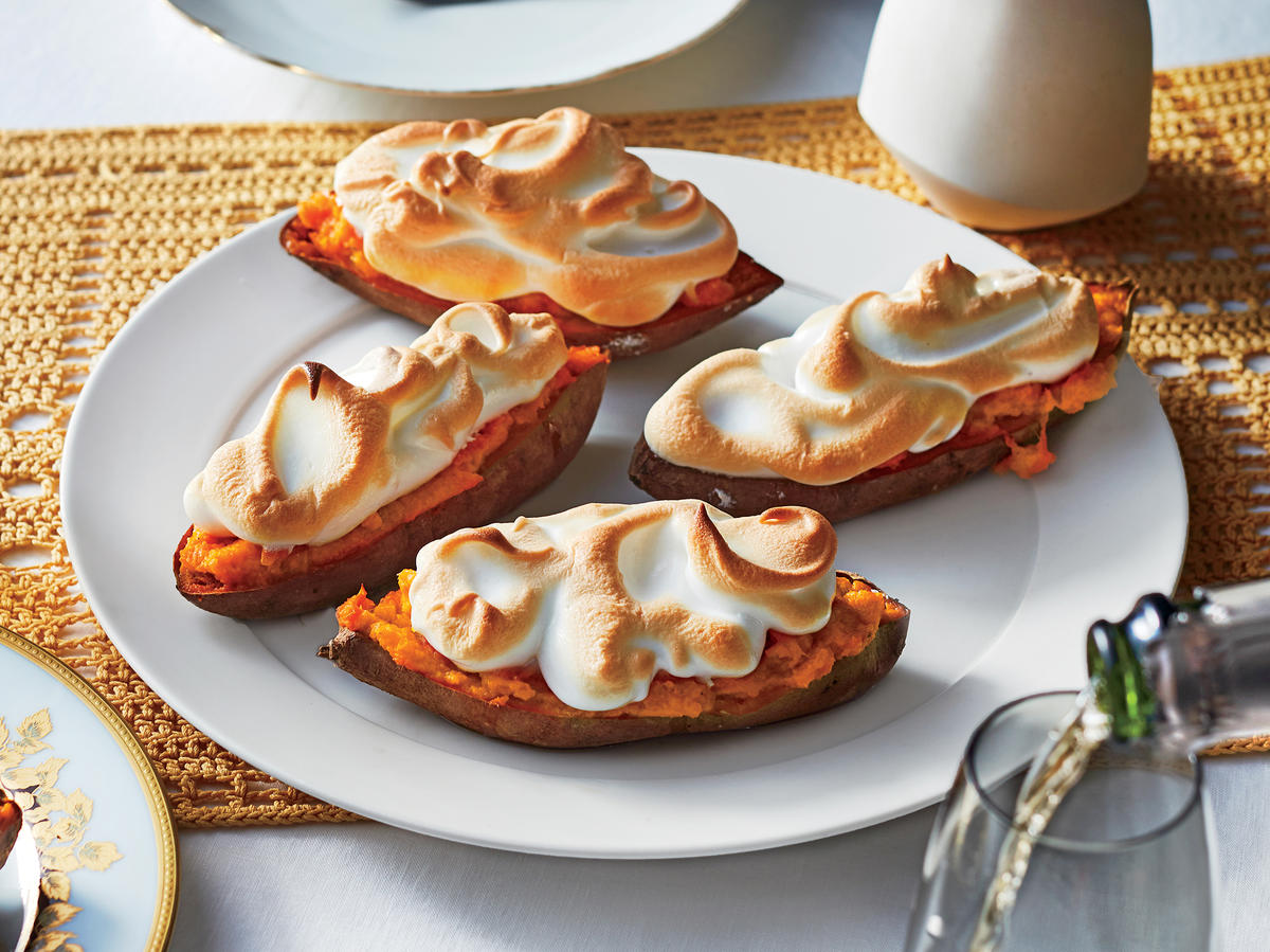 Stuffed Sweet Potatoes with Toasted Meringue