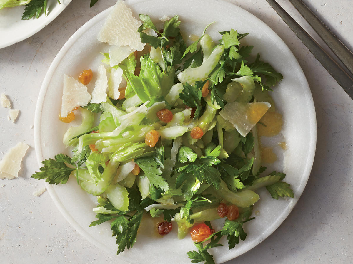 Celery-and-Parsley Salad with Wine-Soaked Raisins