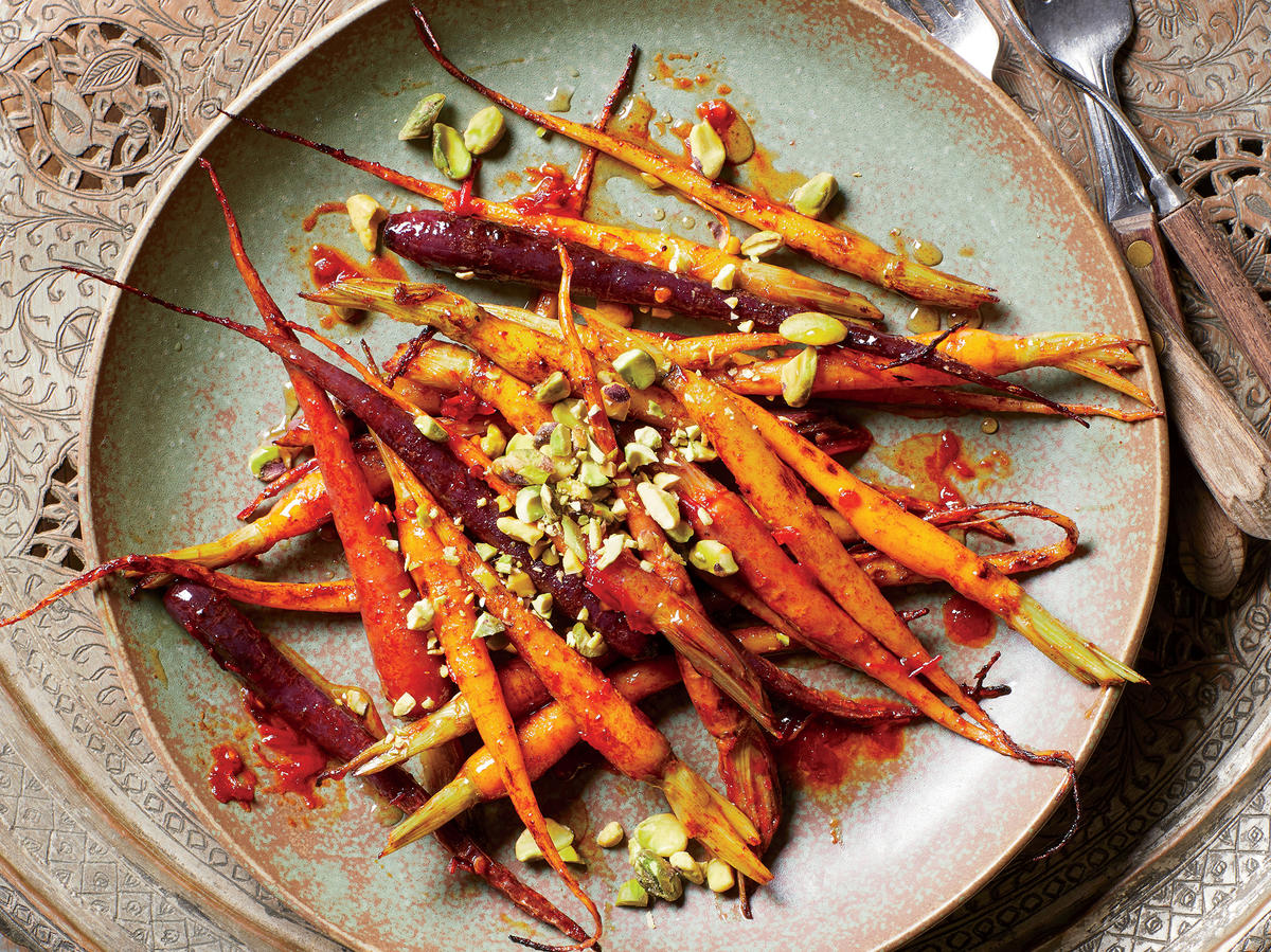 Harissa-Roasted Carrots with Pistachios