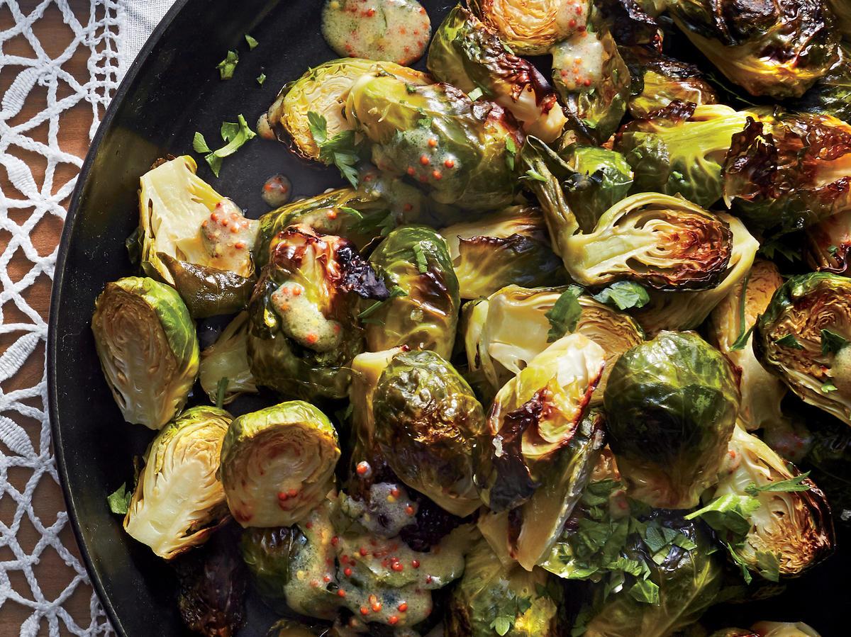 Roasted Brussels Sprouts With Mustard Dressing
