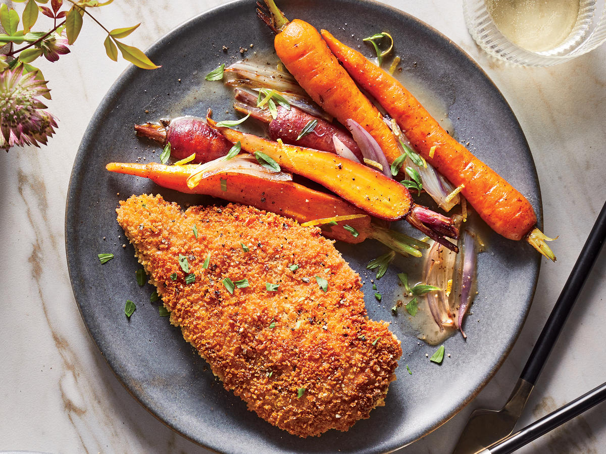 Crispy Chicken Cutlets with Lemon-Butter Carrots