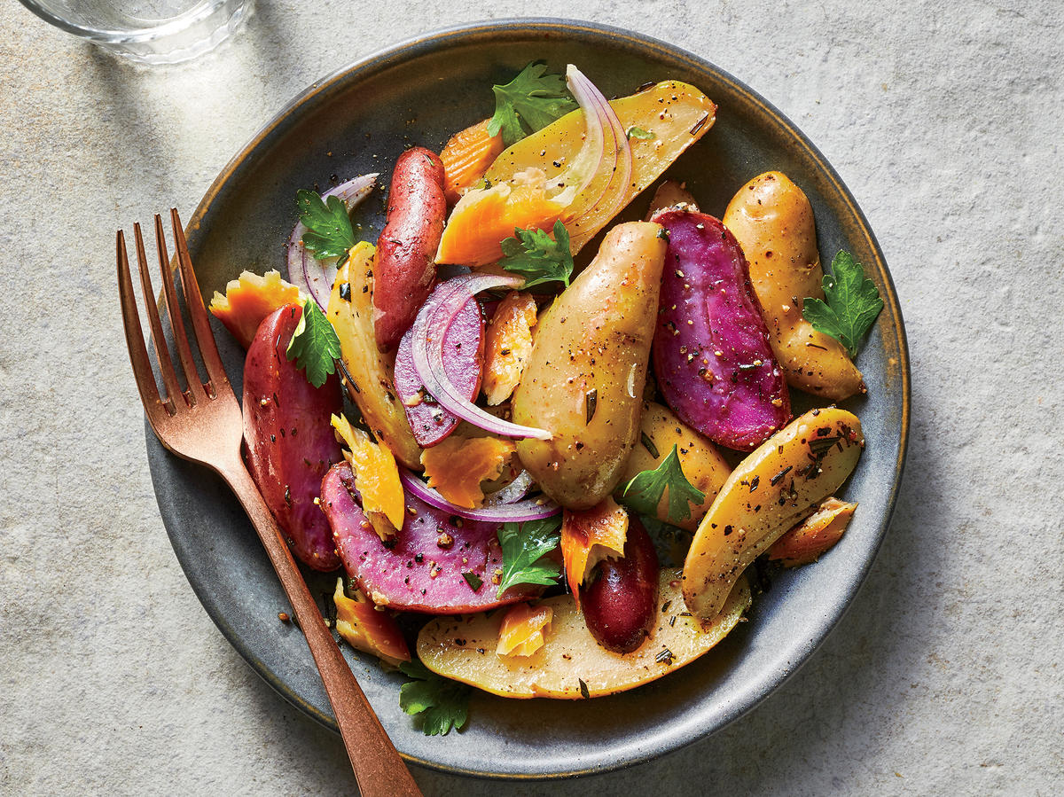 Super Easy Roasted Potatoes With Smoked Trout