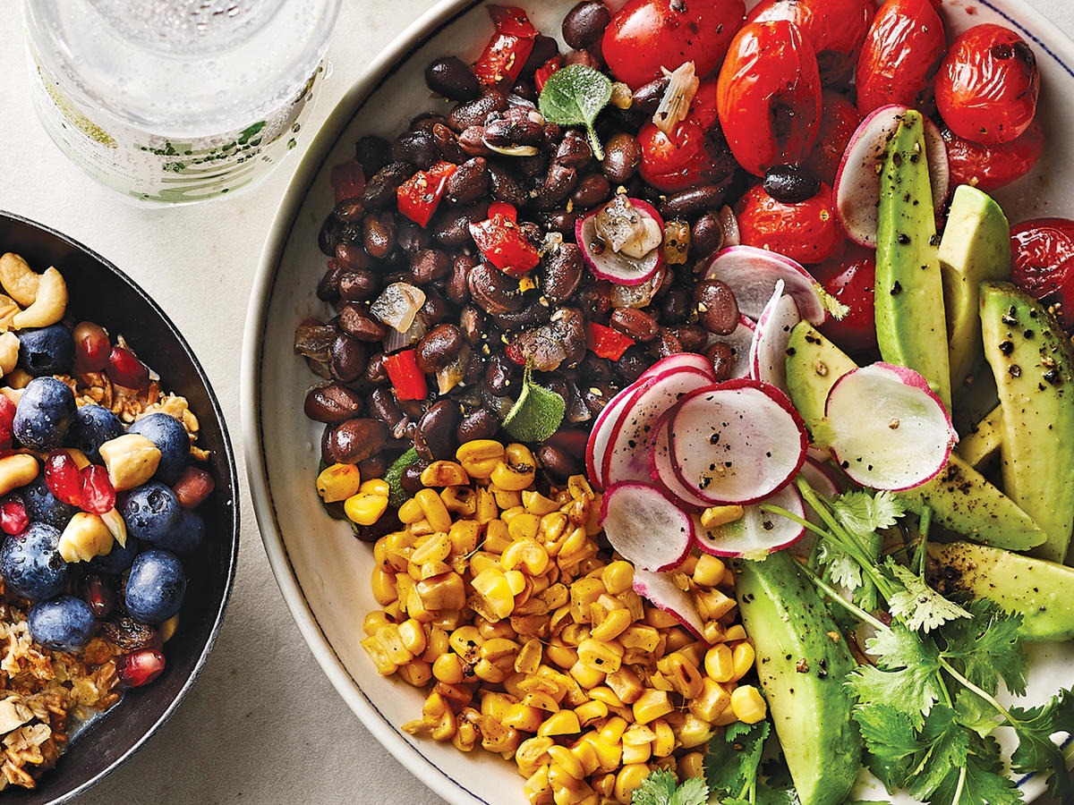 Avocado, Black Bean, and Charred Tomato Bowl