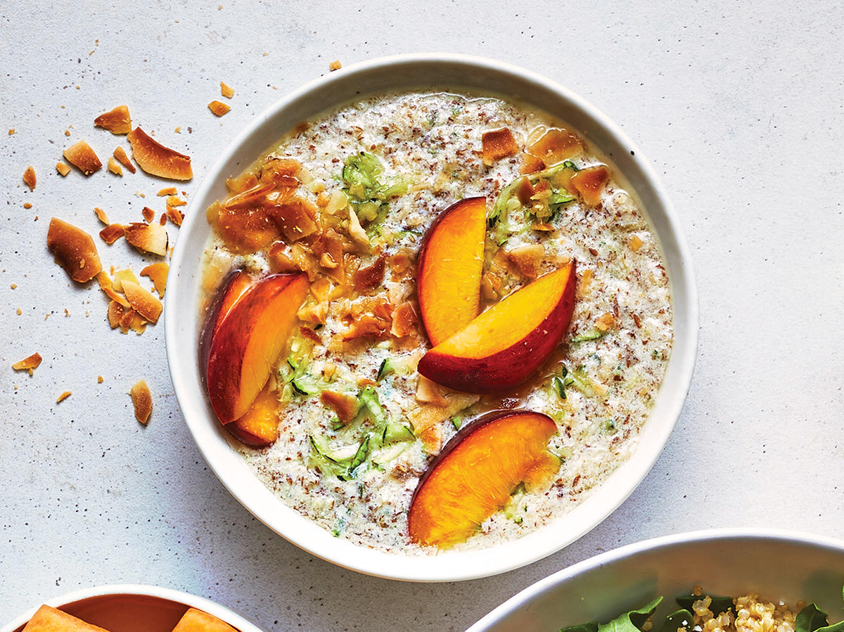 Day 1 and 3 Breakfast: Paleo  Oatmeal  With Peaches and Flax