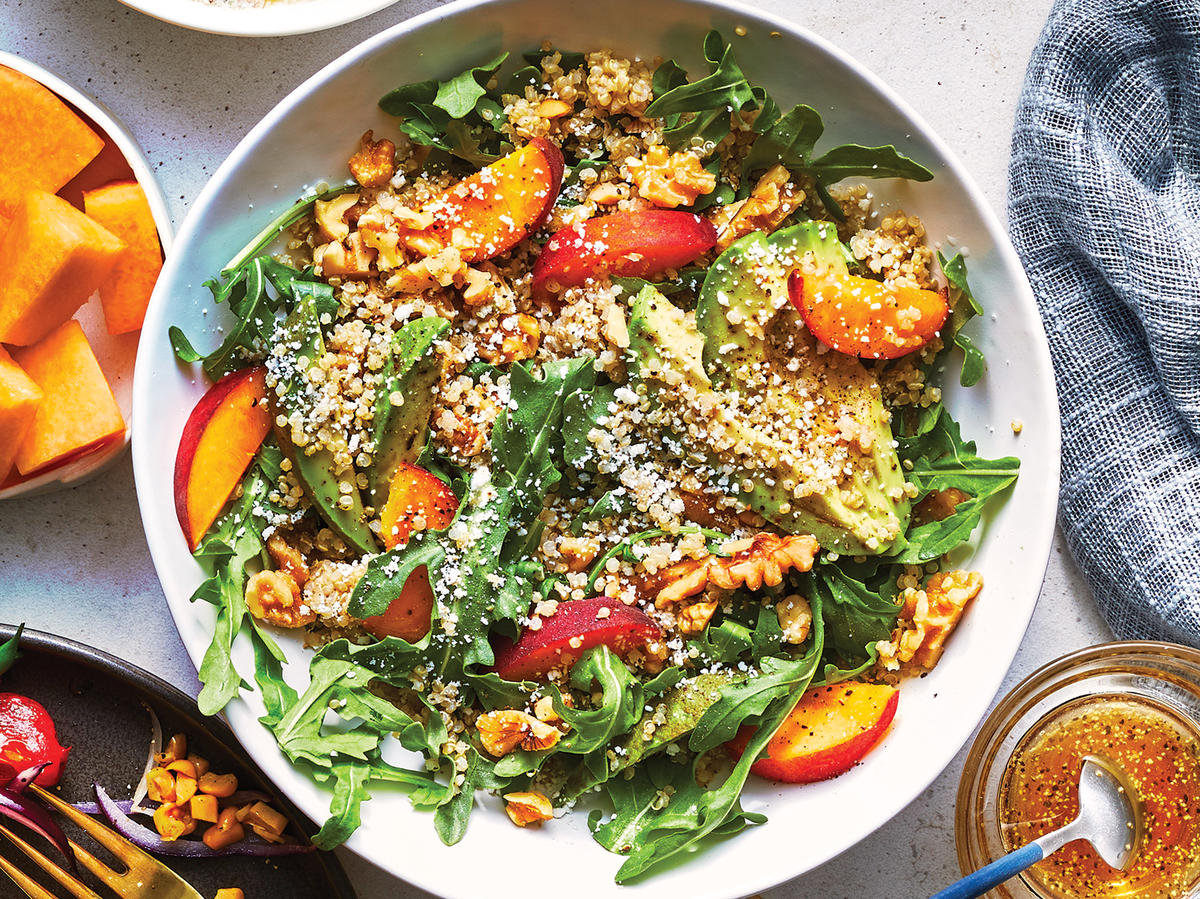 Quinoa-Arugula Bowl with Peaches and Avocado